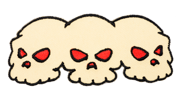gestickter Aufnäher konturgeschnitten mit Bügelfolie skulls with red eyes