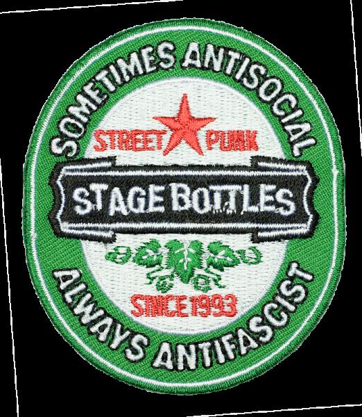 gestickter Aufnäher konturgeschnitten mit Bügelfolie Stage Bottles - sometimes antisocial, always antifascist