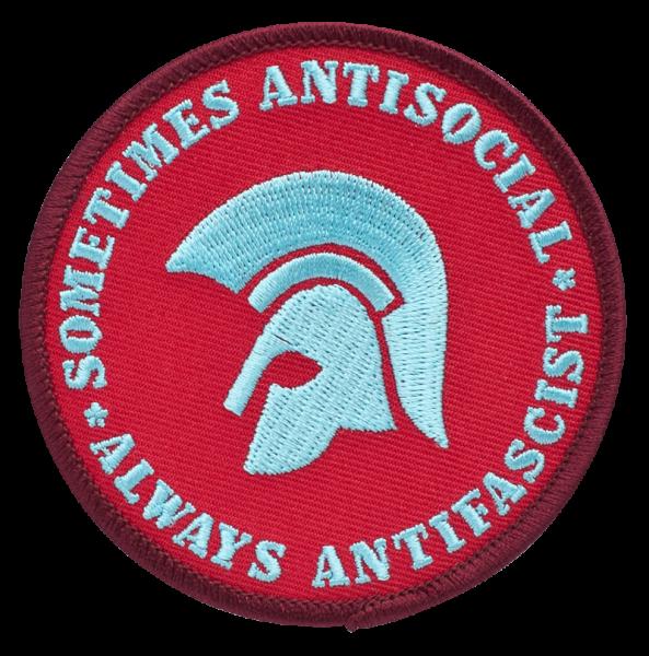 gestickter Aufnäher mit Kettelrand und Bügelfolie sometimes antisocial - always antifascist
