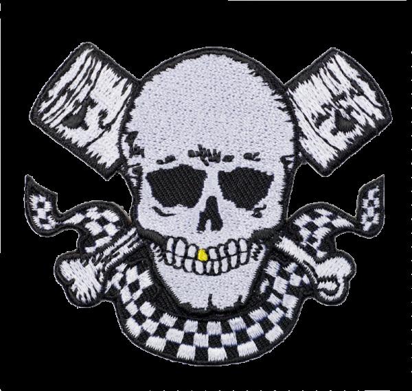 gestickter Aufnäher konturgeschnitten mit Bügelfolie Pirate Skull