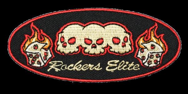 gestickter Aufnäher konturgeschnitten mit Bügelfolie Rockers Elite