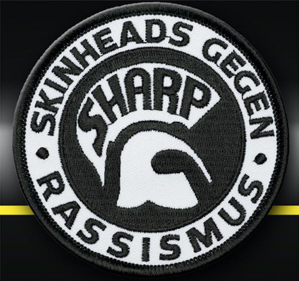 """Aufnäher (gestickt) """"SHARP – Skinheads gegen Rassismus"""" (A)"""