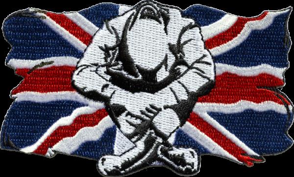 gestickter Aufnäher konturgeschnitten mit Bügelfolie Union Jack Skinhead