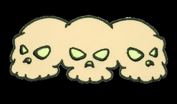gestickter Aufnäher konturgeschnitten mit Bügelfolie skulls with green eyes