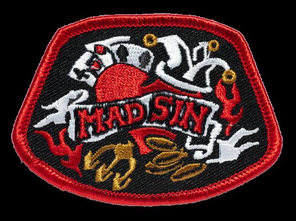 gestickter Aufnäher mit Kettelrand und Bügelfolie Mad Sin - Man's ruin