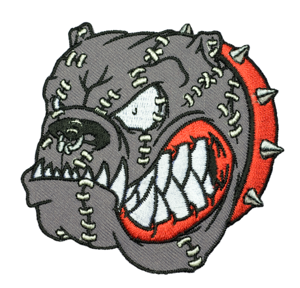 gestickter Aufnäher konturgeschnitten mit Bügelfolie Bulldog