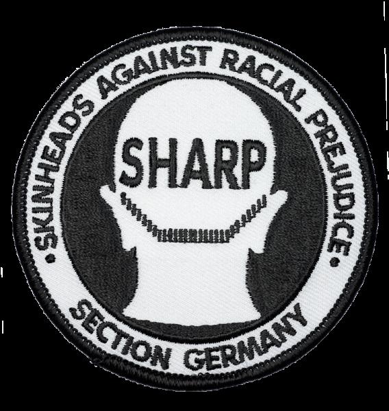 gestickter Aufnäher mit Kettelrand und Bügelfolie S.H.A.R.P.-Germany