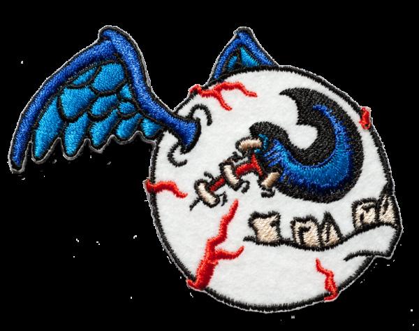 gestickter Aufnäher konturgeschnitten mit Bügelfolie Fleyeball blue