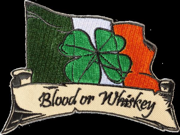 gestickter Aufnäher konturgeschnitten mit Bügelfolie Blood or Whiskey