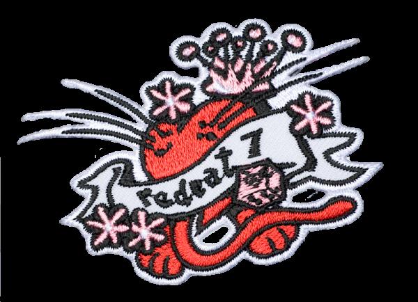 gestickter Aufnäher konturgeschnitten mit Bügelfolie Redcat 7 Heart