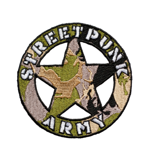 gestickter Aufnäher konturgeschnitten mit Bügelfolie Streetpunk Army