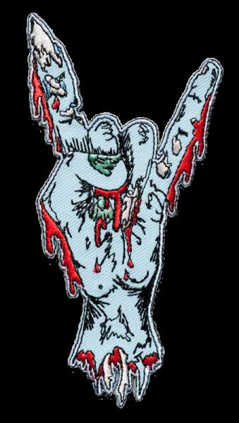 gestickter Aufnäher konturgeschnitten mit Bügelfolie Zombie metal hand