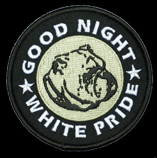 gestickter Aufnäher mit Kettelrand und Bügelfolie Good Night White Pride