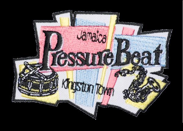 gestickter Aufnäher konturgeschnitten mit Bügelfolie Jamaica Pressure Beat