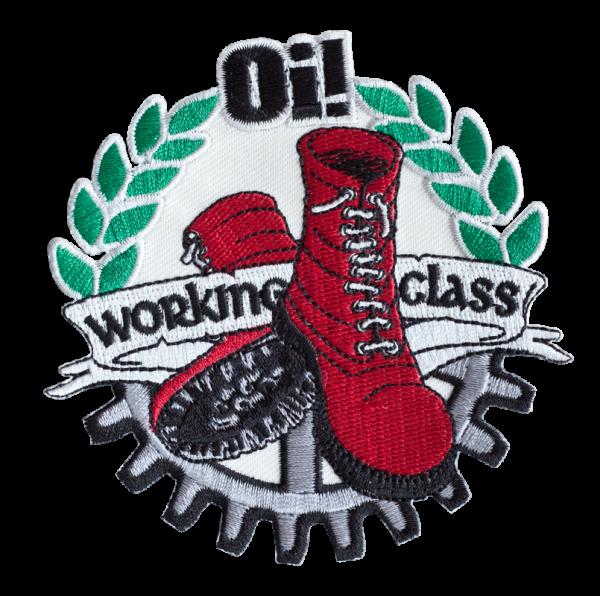 gestickter Aufnäher konturgeschnitten mit Bügelfolie Oi! Working Class Boots