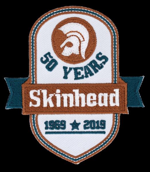 gestickter Aufnäher konturgeschnitten mit Bügelfolie Skinhead 50 years subculture's finest