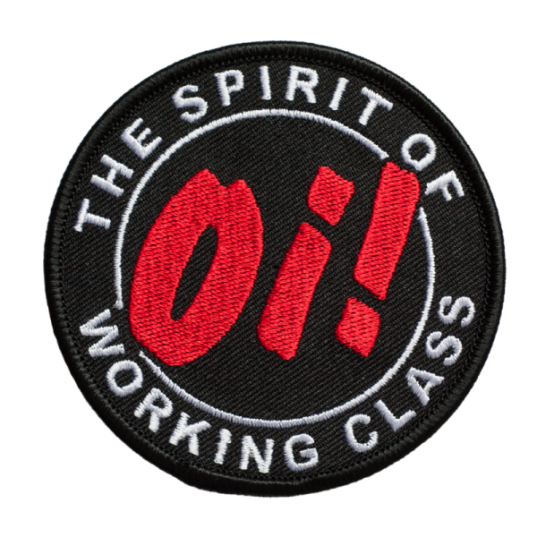 gestickter Aufnäher mit Kettelrand und Bügelfolie Oi! The Spirit of Working Class