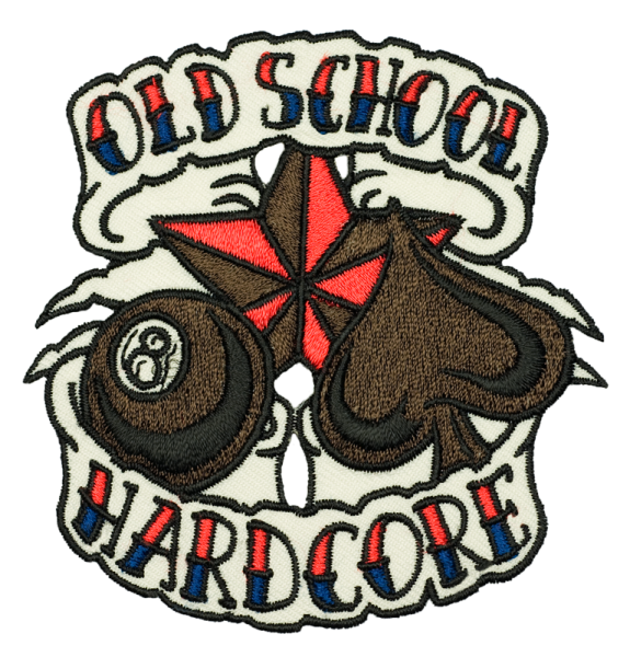 gestickter Aufnäher konturgeschnitten mit Bügelfolie Old School Hardcore