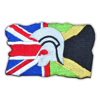 "Aufnäher (gestickt) ""Trojaner-Helm Flagge UK-JAM"""