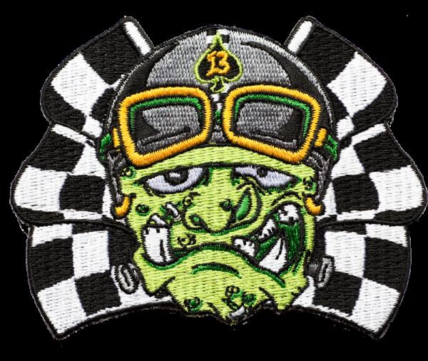 gestickter Aufnäher konturgeschnitten mit Bügelfolie MonsterRace 13