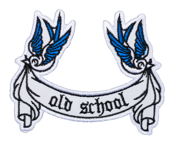 gestickter Aufnäher konturgeschnitten mit Bügelfolie Old School Swallows