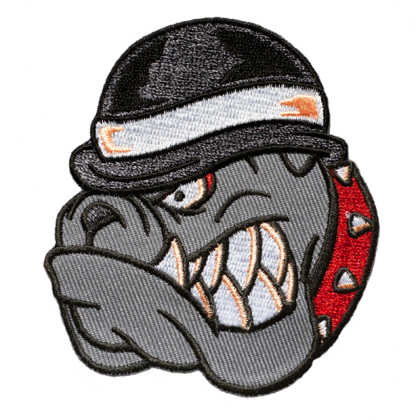 gestickter Aufnäher konturgeschnitten mit Bügelfolie Bulldog Bowler